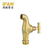 Water Supply System High Pressure PN25 Thread Connecting Yellow Brass Ifan Print 3/4'' Bib Cock Brass Cock