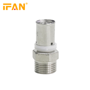16×1/2M Brass Male Socket Male Adapter PEX Press Fitting Brass Fitting for PEX-AL-PEX Pipe