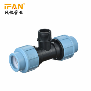 PE Male Tee for PP Pipe Fitting Light blue Irrigation Pipe Fitting