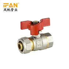 16*1/2F Female Valve PEX Ball Valve Butterfly Red Handle Pex Pipe Fittings 3/4inch Brass Valve for PEX