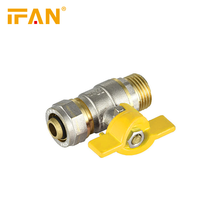 Male Thread Gas Valve 16*1/2inch Yellow Handle Ball Valve Brass Valve for Gas Pipe
