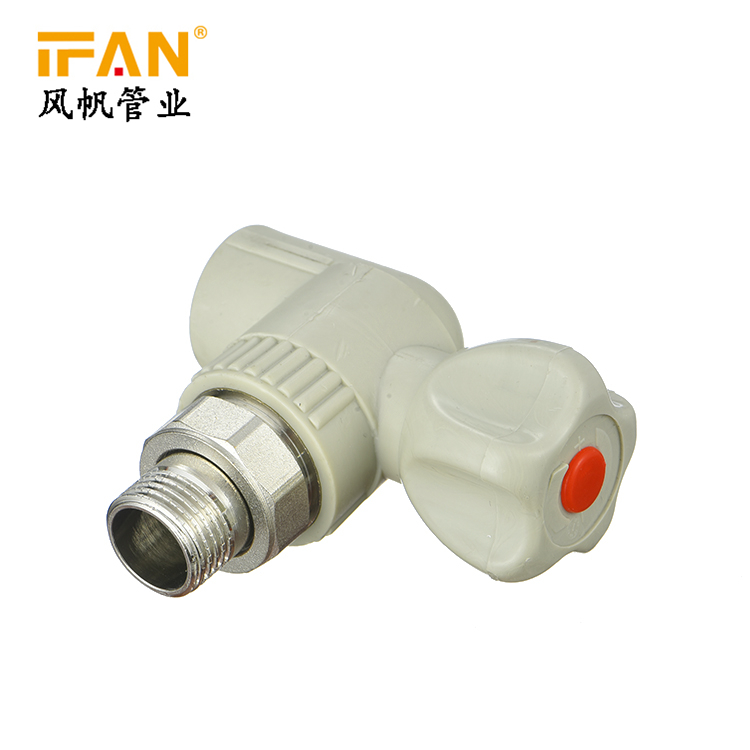 PPR Corner Valve Stable quality plastic pipe fitting brass insert green color male thread bathtub parts and fittings